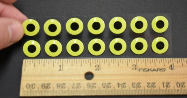 "20 GLOW//FLAT YELLOW//BLACK  3D Soft Molded 5//16/""  8mm  Eyes Fly Tying Lures"